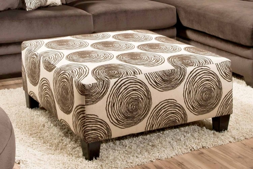 Rayna Ottoman - Big Swirl Chocolate