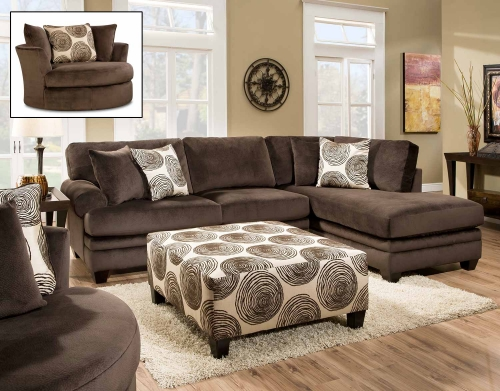 Rayna Sectional Sofa Set - Groovy Chocolate