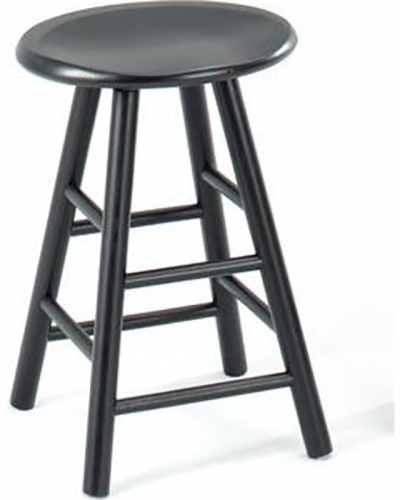 Gene 24-inch Swivel Saddle Barstool - Black