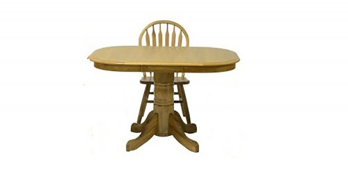 Temple High Pedestal Table - Harvest Oak