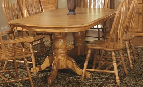 Tallis Double Pedestal Table - Harvest Oak