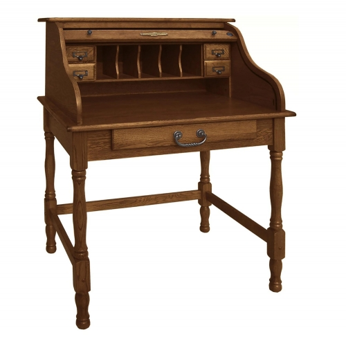Lonie 32-inch Mini Roll Top Desk - Burnished Walnut