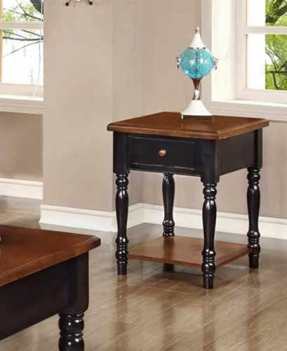 Bolton End Table - Black/Cherry