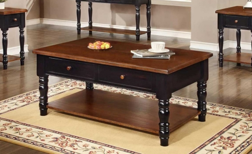 Brockton Coffee Table - Black/Cherry