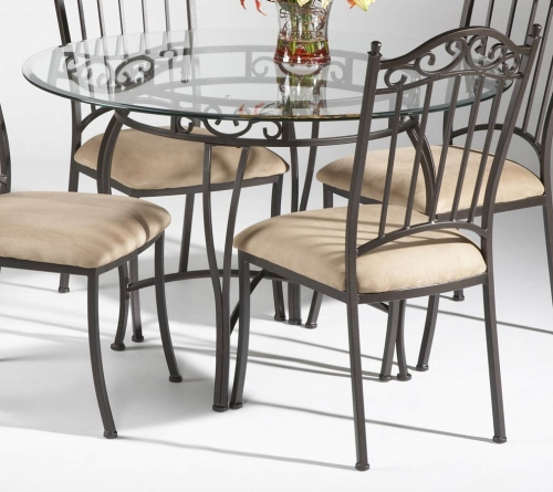 Imports DT Round Dining Table Glass Top 354 1580
