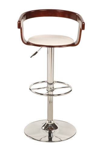 1331 Bentwood Pneumatic Gas Lift Swivel Stool - Chrome/ Cherry
