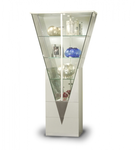 Chintaly Imports Triangular Curio with Mirrored Interior - Silver