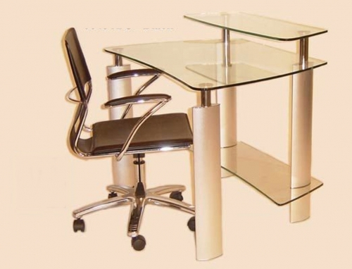 Computer Desk with Clear Glass Top and Swivel Arm Chair Set