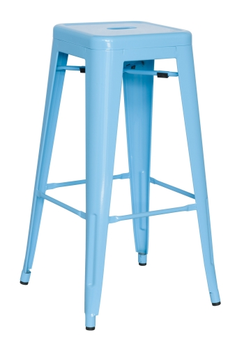 8015 Galvanized Steel Bar Stool - Sky Blue