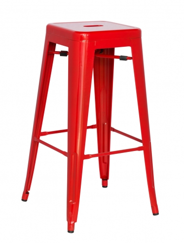 8015 Galvanized Steel Bar Stool - Red