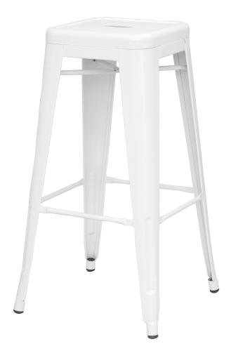 8015 Galvanized Steel Bar Stool - White