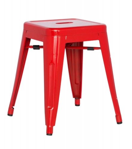 8018 Galvanized Steel Side Chair - Red