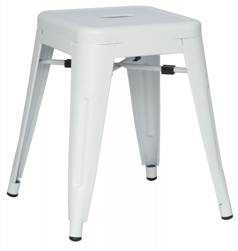 8018 Galvanized Steel Side Chair - White