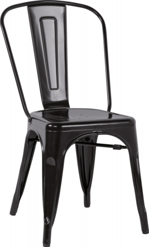 8022 Galvanized Steel Side Chair - Black