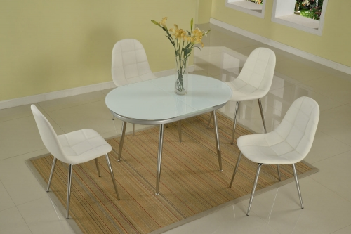 Donna Contemporary Extendable 5-Piece Dining Set - Chrome and White Painted Glass
