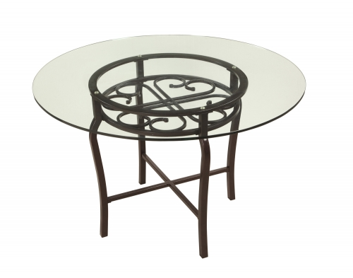 Chintaly Imports Lily Traditional Dining Table - Clear Glass/Hammered Brown