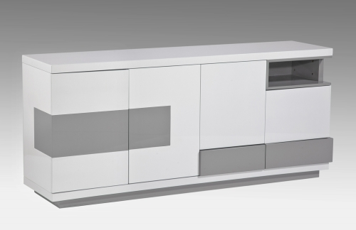 Summer Modern Four-Door Buffet - Gloss White and Gray