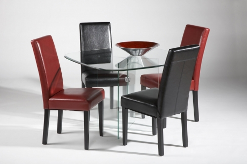 Imports XBASE DT CRM SET XBase Square Round Dining Collection Chrome 377 39