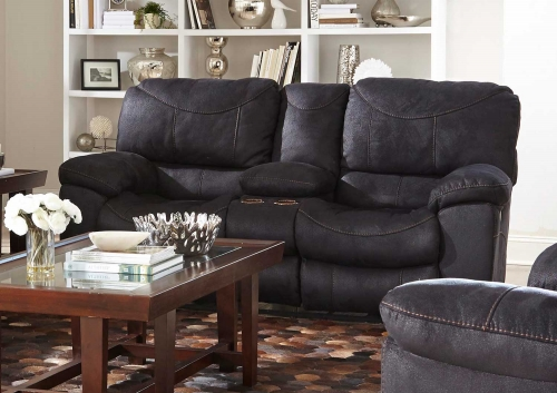 Terrance Power Reclining Console Loveseat with Storage - Cupholders - Black