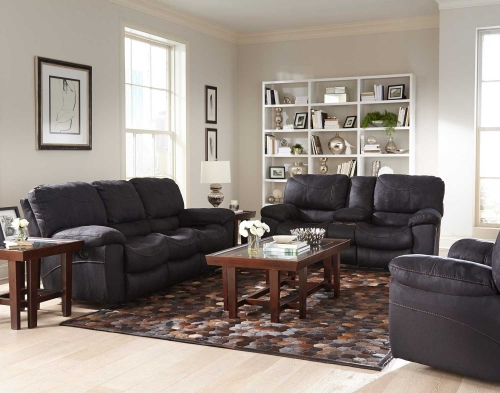 Terrance Reclining Sofa Set - Black