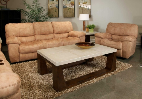 Terrance Power Reclining Sofa Set - Caramel