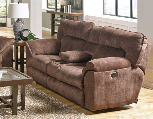 Nichols Power Lay Flat Reclining Console Loveseat with Storage - Cupholders - Chestnut