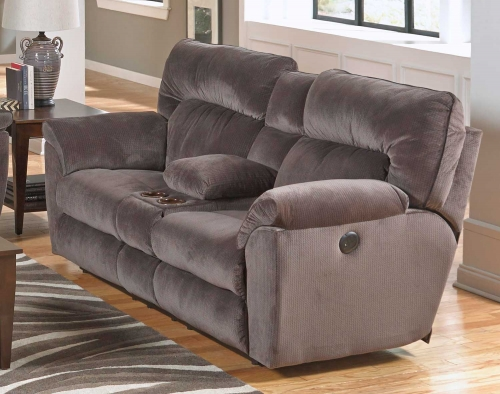Nichols Power Lay Flat Reclining Console Loveseat with Storage - Cupholders - Granite