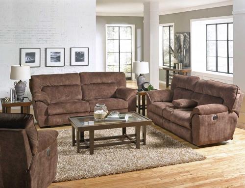 Nichols Reclining Sofa Set - Chestnut