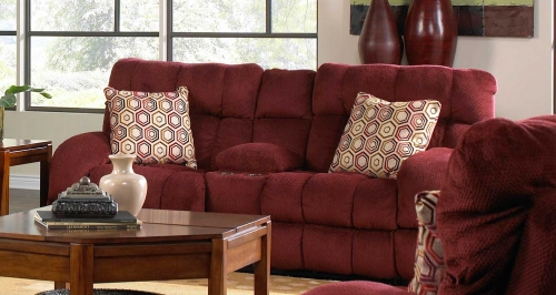 Siesta Lay Flat Reclining Console Loveseat with Storage and Cupholders - Wine