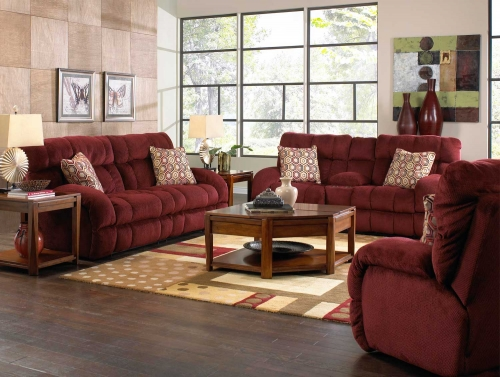 Siesta Lay Flat Reclining Sofa Set - Wine