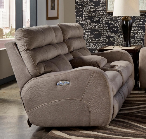 Kelsey Power Headrest Power Lay Flat Reclining Console Loveseat - Aluminum
