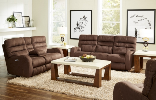 Kelsey Power Headrest Power Lay Flat Reclining Sofa Set - Walnut
