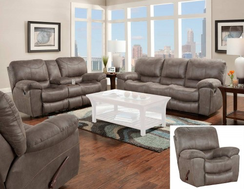 Trent Reclining Sofa Set - Charcoal