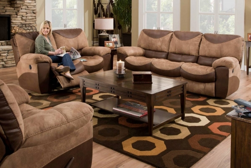Portman Power Reclining Sofa Set - Saddle-Chocolate
