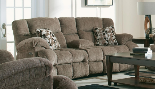 Brice Power Reclining Console Loveseat with Power Headrest, Cupholders, and Storage - Chateau