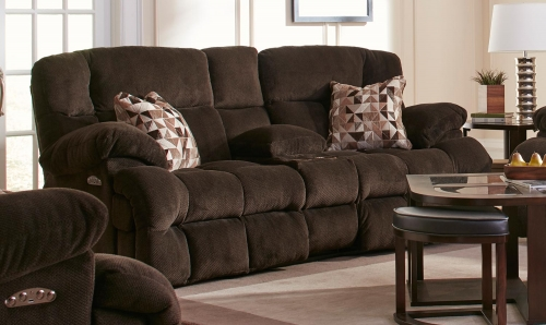 Brice Power Reclining Console Loveseat with Power Headrest, Cupholders, and Storage - Chocolate