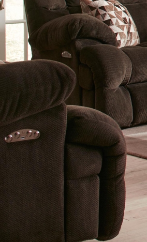 Brice Power Lay Flat Recliner with Power Headrest - Chocolate