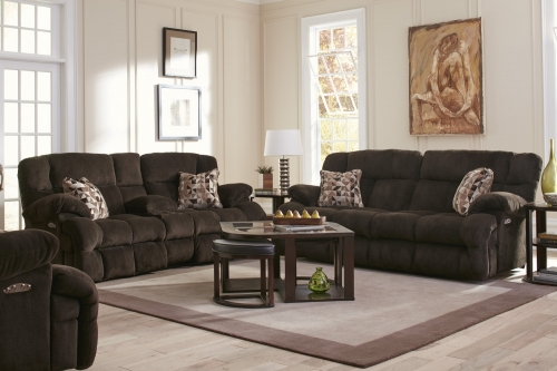 Brice Power Reclining Sofa Set - Chocolate