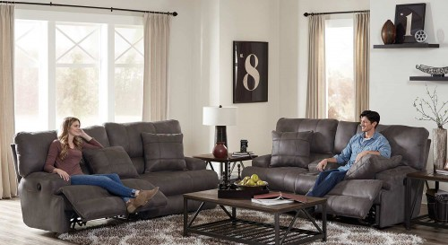Monaco Reclining Sofa Set - Charcoal