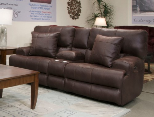 Monaco Reclining Console Loveseat - Dark Chocolate