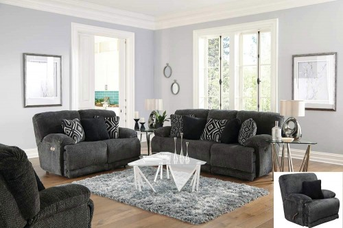 Montego Reclining Sofa Set - Ebony