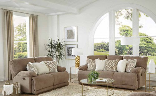 Montego Reclining Sofa Set - Linen