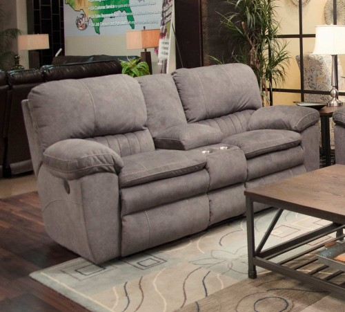 Reyes Reclining Console Loveseat - Graphite