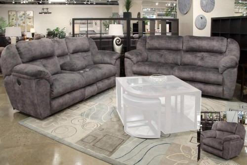 Carrington Reclining Sofa Set - Greystone