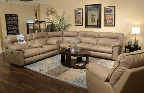 Nolan Leather Power Sectional Sofa Set - Putty