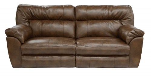 Nolan Leather Extra Wide Reclining Sofa - Chestnut