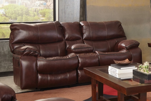 Camden Reclining Gliding Console Loveseat with Storage and Cupholders - Walnut