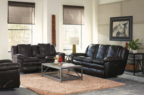 Aria Top Grain Italian Leather Lay Flat Reclining Sofa Set - Chocolate