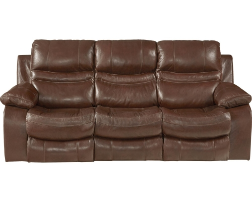 Patton Top Grain Italian Leather Lay Flat Power Reclining Sofa - Walnut