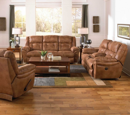 Joyner Power Lay Flat Reclining Sofa Set with Drop Down Table - Almond